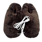 Healifty Fußwärmer Hausschuhe Winterschuhe USB Plüsch Schuhe (Kaffee)