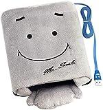 OFKPO Handwärmer USB Mausunterlage,Smiley GesichtsPlüsch Maus pad (Grau)