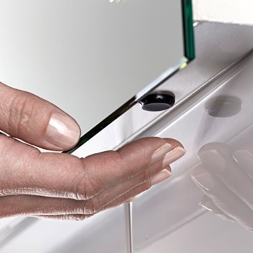 Badspiegel Horizon mit Sensor und Steckdose, beleuchtet, komplett beheizt, 100x600mm, Kieselgrau -