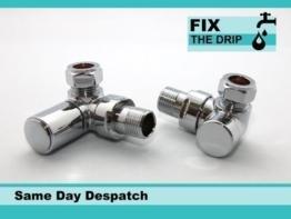 FixtheDrip Ventilset, abgewinkelt, verwendbar als Heizkörper/beheizbarer Handtuchhalter, Absperrventile, Rücklaufverschraubung, verchromt -
